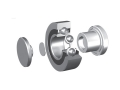 Single row ball bearings with cage for mounting with lateral support